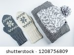 collection of woolen winter... | Shutterstock . vector #1208756809
