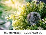 world globe cystal glass on... | Shutterstock . vector #1208760580
