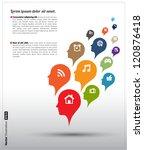 head icons color bubble vector  ... | Shutterstock .eps vector #120876418