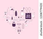 zero waste lifesyle hand drawn... | Shutterstock .eps vector #1208779420