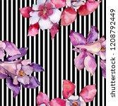 watercolor colorful aquilegia... | Shutterstock . vector #1208792449