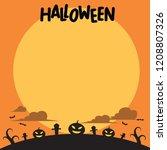 halloween background  flat...   Shutterstock .eps vector #1208807326