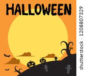 halloween background  flat...   Shutterstock .eps vector #1208807329
