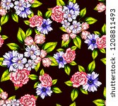flower print in bright colors.... | Shutterstock . vector #1208811493