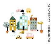cartoon city print. childish... | Shutterstock .eps vector #1208814760