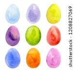 easter eggs set watercolor...   Shutterstock .eps vector #1208827069