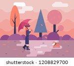 autumn walk dog puddles...   Shutterstock . vector #1208829700