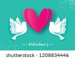 origami happy valentine's day... | Shutterstock . vector #1208834446