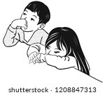 the boy and a girl are both... | Shutterstock .eps vector #1208847313