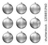 silver christmas balls isolated ... | Shutterstock .eps vector #1208851960