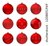 red christmas balls isolated on ... | Shutterstock .eps vector #1208851969