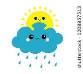 sun holding cloud set. rain...   Shutterstock .eps vector #1208857513