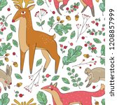 deer  fox and hare. branches... | Shutterstock .eps vector #1208857999