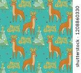 merry christmas. deer. stars... | Shutterstock .eps vector #1208860330