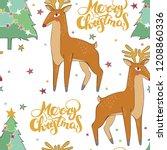 merry christmas. deer. stars... | Shutterstock .eps vector #1208860336