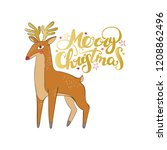 merry christmas. deer. stars... | Shutterstock .eps vector #1208862496