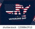 happy veterans day. greeting... | Shutterstock .eps vector #1208862913