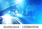 cyber security  information... | Shutterstock . vector #1208863036