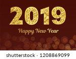 2019 hand written lettering...   Shutterstock . vector #1208869099