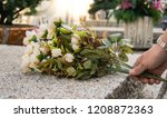 hand holds flowers on the... | Shutterstock . vector #1208872363