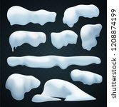 snow caps vector set. realistic ... | Shutterstock .eps vector #1208874199