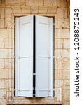 old window with wooden white... | Shutterstock . vector #1208875243