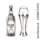 beer graphic sketch isolated on ... | Shutterstock .eps vector #1208875453
