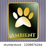 shiny emblem with paw icon and ... | Shutterstock .eps vector #1208876266