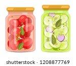 preserved food in jars ... | Shutterstock .eps vector #1208877769