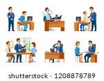 boss interviewing woman worker... | Shutterstock .eps vector #1208878789