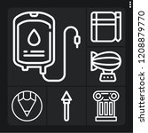 set of 6 art outline icons such ... | Shutterstock .eps vector #1208879770