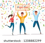 lottery winner. women and man... | Shutterstock .eps vector #1208882299