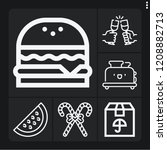 set of 6 snack outline icons... | Shutterstock .eps vector #1208882713