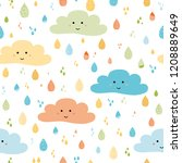 cute seamless pattern with... | Shutterstock .eps vector #1208889649