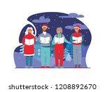 cheerful people in santa hats...   Shutterstock .eps vector #1208892670