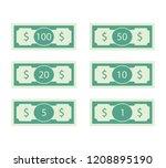 dollars banknote of set. 100... | Shutterstock .eps vector #1208895190
