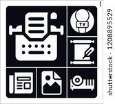set of 6 old filled icons such... | Shutterstock .eps vector #1208895529