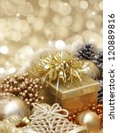 gold christmas background with... | Shutterstock . vector #120889816