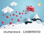 paper art of pink air plane... | Shutterstock .eps vector #1208898550