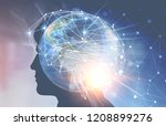 man head silhouette with double ... | Shutterstock . vector #1208899276