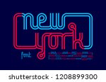 continuous line font  inline... | Shutterstock .eps vector #1208899300