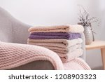 stack of clean soft towels on... | Shutterstock . vector #1208903323