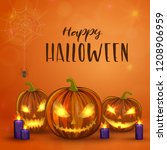 carved halloween pumpkins ... | Shutterstock . vector #1208906959