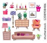 big set of vintage elements ...   Shutterstock .eps vector #1208908486