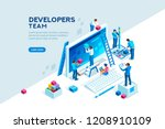 engineer team at project... | Shutterstock .eps vector #1208910109