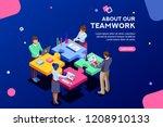 startup employees. goal... | Shutterstock .eps vector #1208910133