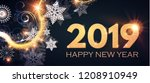 happy new 2019 year poster and... | Shutterstock .eps vector #1208910949