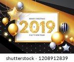 happy new 2019 year  shining... | Shutterstock .eps vector #1208912839