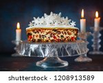 christmas fruit cake with icing ... | Shutterstock . vector #1208913589