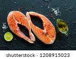 Two Fresh Raw Salmon Steaks...